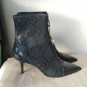 Zara Embossed Leather Zipped Boots